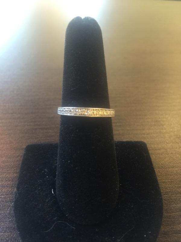Lady's Gold-Diamond Anniversary Ring 15 Diamonds .45 Carat T.W. 14K White Gold