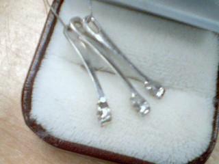 Diamond Necklace 3 Diamonds .21 Carat T.W. 10K White Gold 3.3g