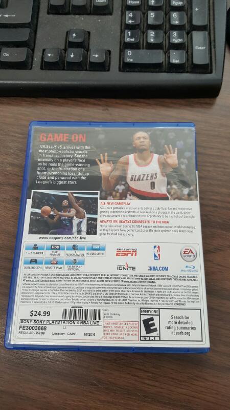 NBA Live 15 (Sony PlayStation 4, 2014) PS4