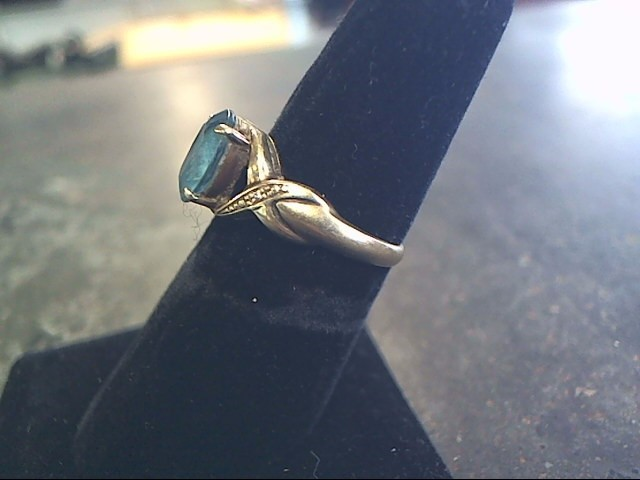 Synthetic Blue Topaz Lady's Stone Ring 10K Yellow Gold 2.1dwt