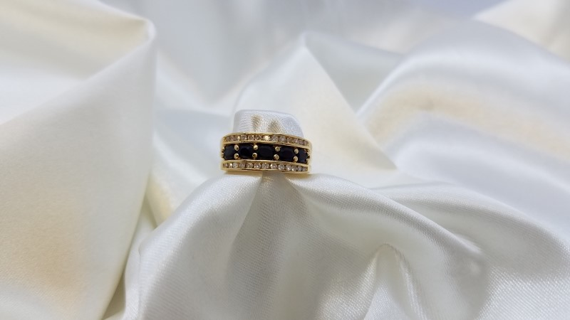 Lady's Sapphire & Diamond Ring 26 Diamonds .52 Carat T.W. 14K Yellow Gold