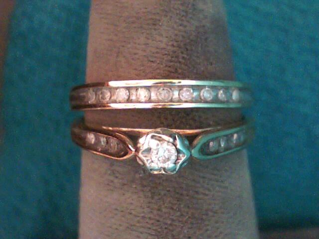 Lady's Diamond Wedding Set 16 Diamonds .18 Carat T.W. 10K Yellow Gold 2.1dwt