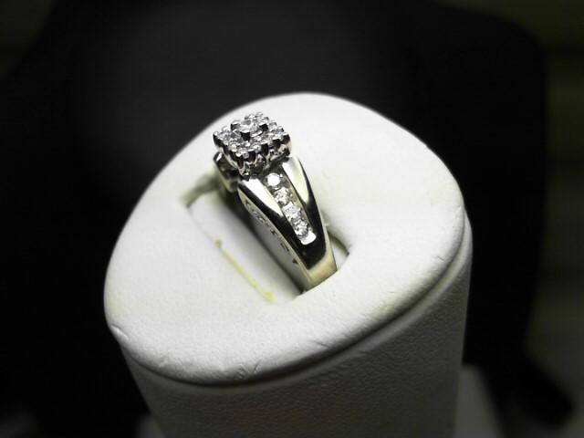 Lady's Diamond Fashion Ring 21 Diamonds .39 Carat T.W. 14K White Gold 5g