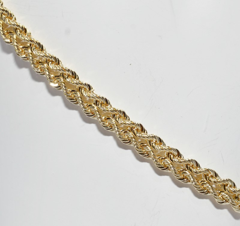 """7"""" 14K Yellow Gold Double Rope Style Bracelet 3mm"""
