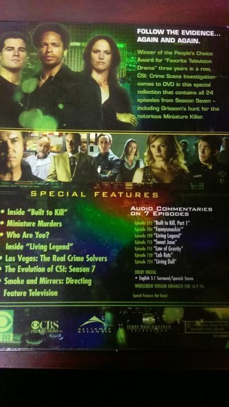 CSI 7TH SEASON 7 DISK DVD SET