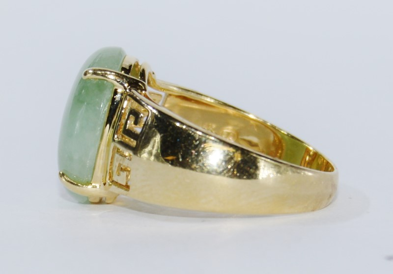 14k Yellow Gold Jade Stone Ring Size:7.3