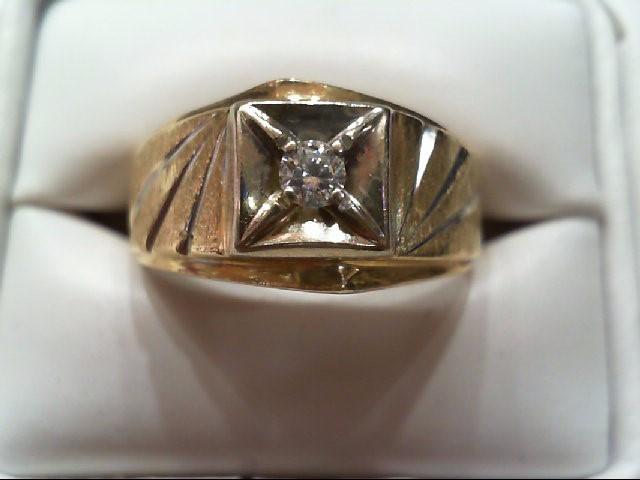 Gent's Diamond Solitaire Ring 2 Diamonds .25 Carat T.W. 10K Yellow Gold 4.3g