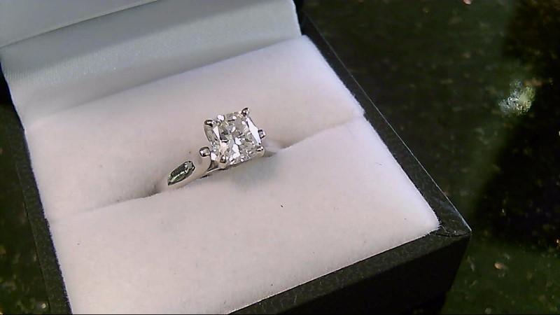 Lady's Diamond Engagement Ring 1.16 CT. 14K White Gold 3.4g Size:4.8