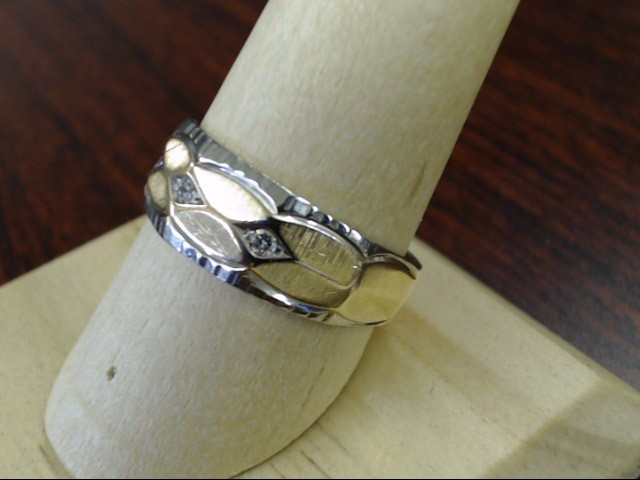 VINTAGE DIAMOND WEDDING RING BAND SOLID REAL 14K GOLD MENS SIZE 9.25