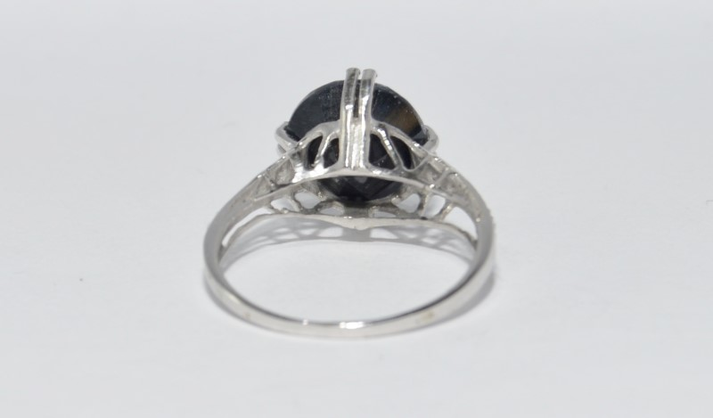 10K White Gold Cathedral Set Opaque Black Sapphire & Diamond Statement Ring sz 7