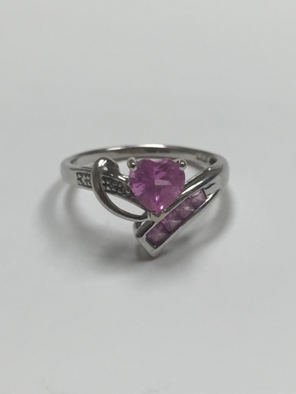 Synthetic Pink Sapphire Lady's Stone Ring 10K White Gold 1.5dwt Size:6.5