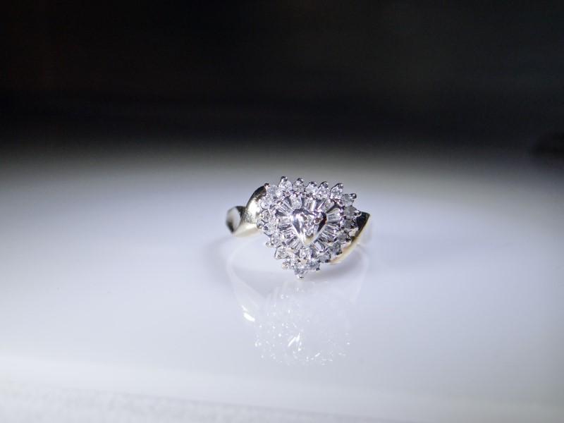 Lady's Diamond Cluster Ring 20 Diamonds .40 Carat T.W. 10K Yellow Gold 3g