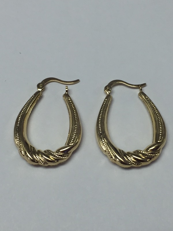 14K Yellow Gold Vintage Inspired Milgrain Scroll Oval Hinged Hoop Earrings 1""