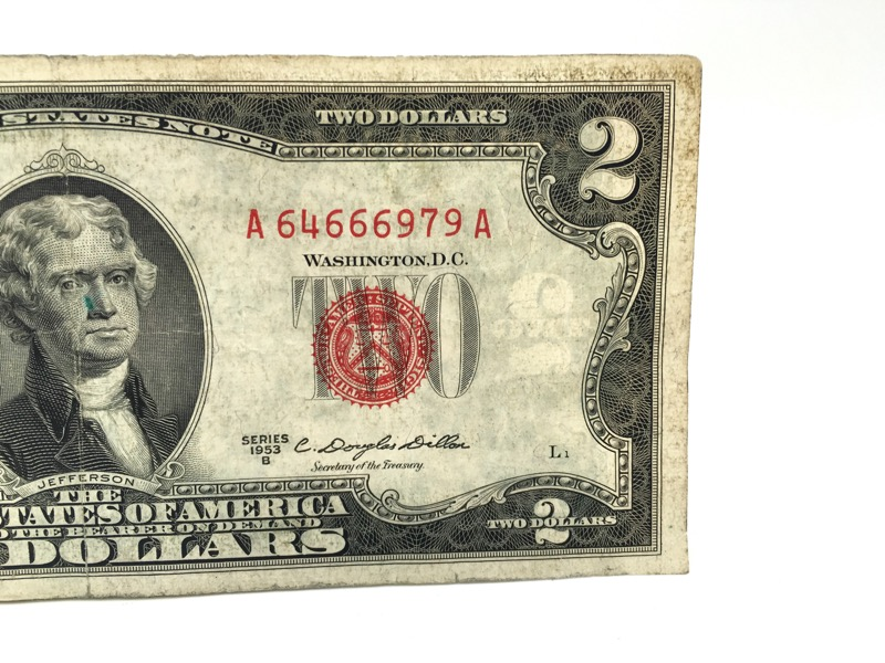 1953 Red Seal $2 Two Dollar Bill - Double A Serial - Series B