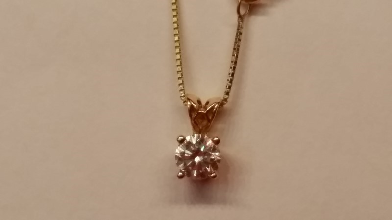 """15"""" Diamond Solitare Necklace .50 CT. 14K Yellow Gold 2.1g"""
