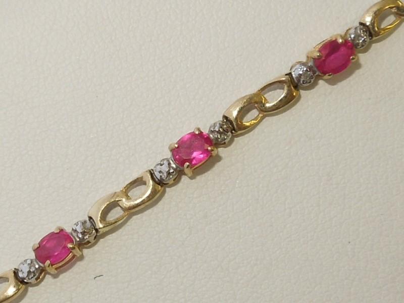 Synthetic Ruby Gold-Stone Bracelet 10K Yellow Gold 3.5g