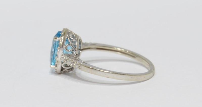 10K White Gold Oval Blue Topaz & Diamond Halo Ring w/ Filigree Detail Size 7