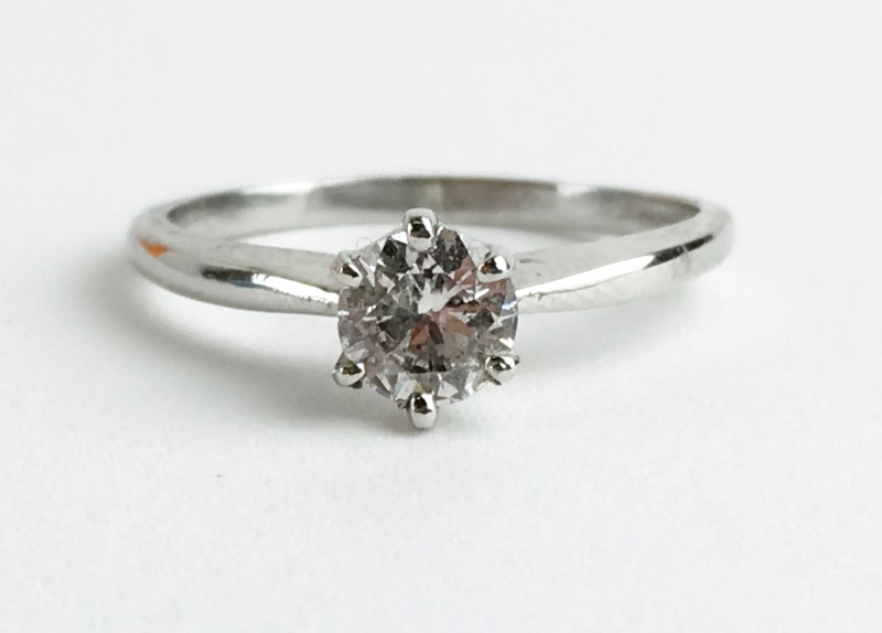 Lady's Diamond Solitaire Ring .52 CT. 14K White Gold 2.5g