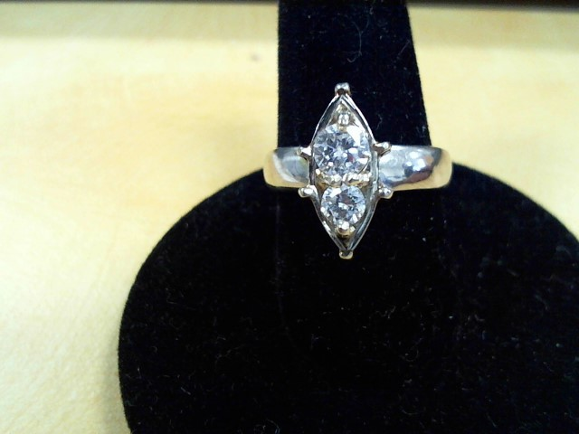 Synthetic Cubic Zirconia Lady's Stone & Diamond Ring .15 CT. 14K White Gold