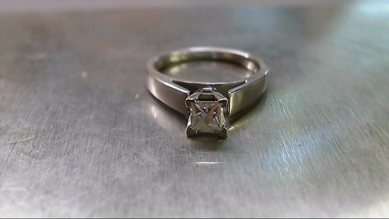 Lady's Diamond Solitaire Ring .37 CT. 14K White Gold 3.45g