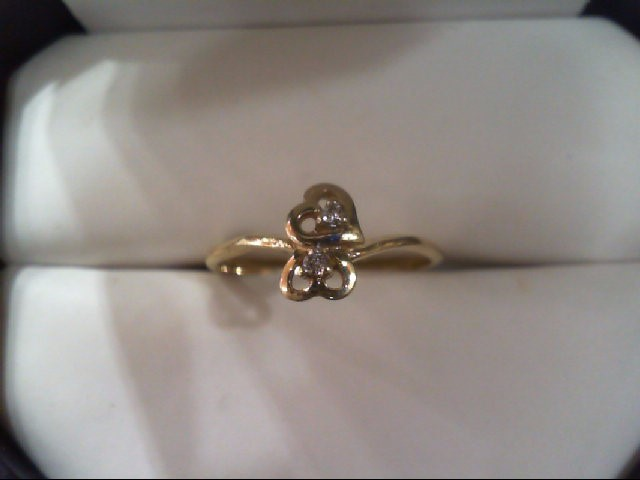 Lady's Diamond Fashion Ring 2 Diamonds .02 Carat T.W. 10K Yellow Gold 1.1g