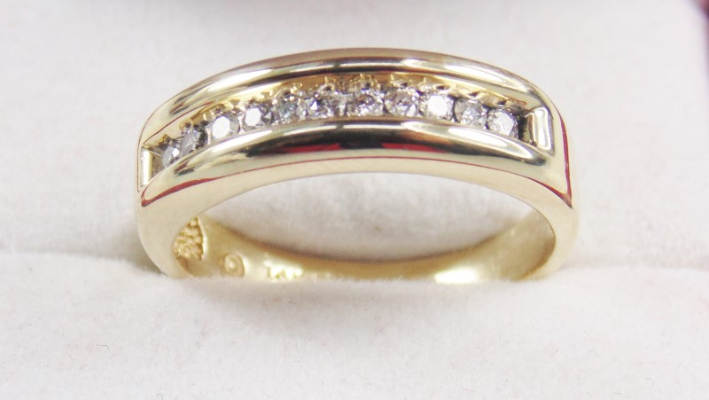 14K YG MEN'S DIAMOND BAND APX.22CTW 3.6G SZ.8