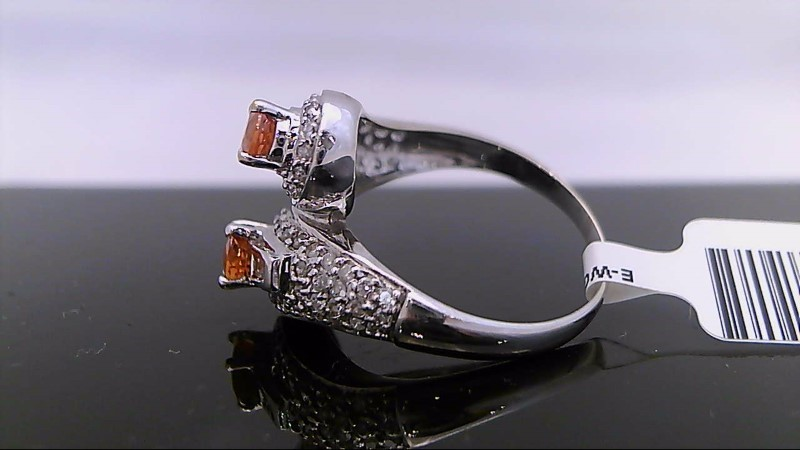 Citrine Lady's Stone & Diamond Ring 66 Diamonds .74 Carat T.W. 14K White Gold