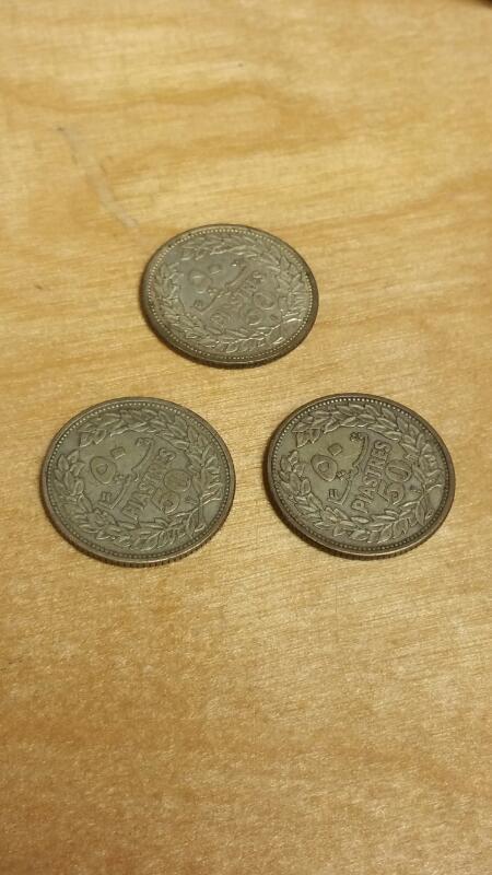3 LEBANESE 50 PIASTRES COINS