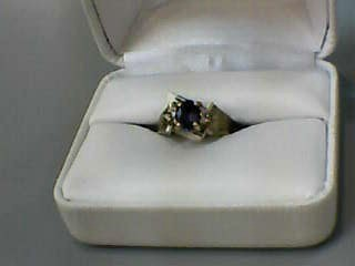 Sapphire Lady's Stone & Diamond Ring 6 Diamonds .06 Carat T.W. 14K Yellow Gold