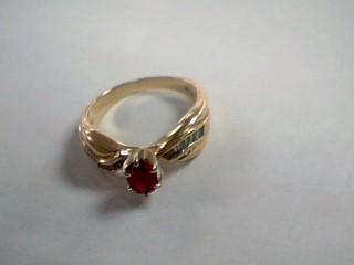 Red Stone Lady's Stone & Diamond Ring 16 Diamonds .32 Carat T.W.