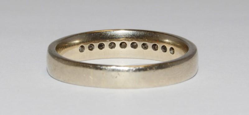 14K Men's White Gold Channel Set Diamond Wedding Band Size 10