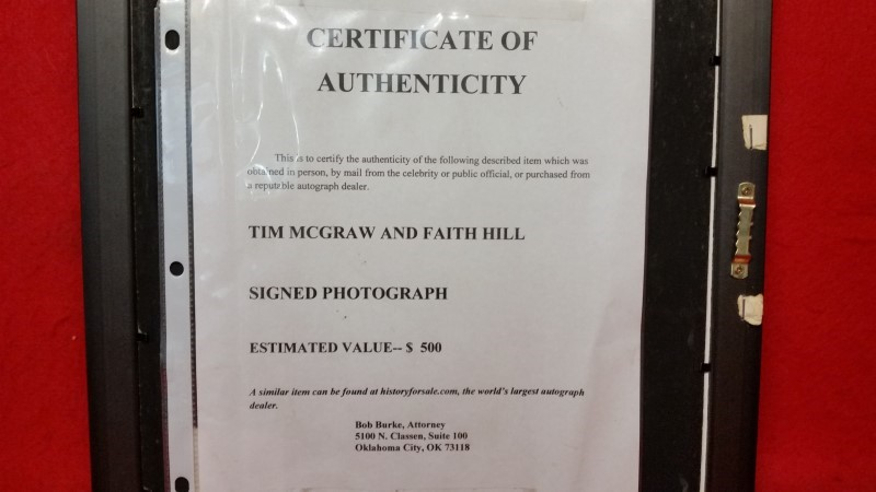 Tim McGraw & Faith Hill Autographed Framed Photo