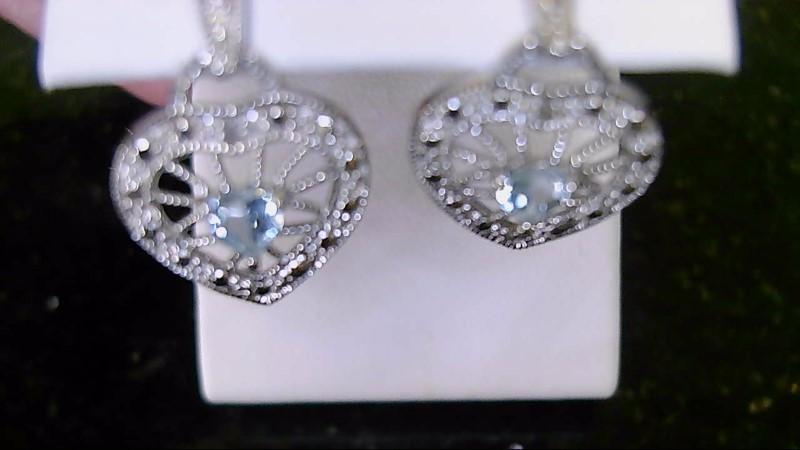 Lady's sterling silver 925 aquamarine heart diamond earrings