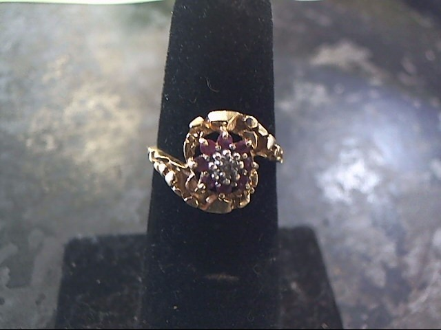 Red Stone Lady's Stone & Diamond Ring .10 CT. 10K Yellow Gold 1.7dwt