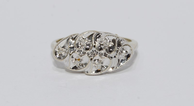 14K White Gold Vintage Inspired Diamond Cut Swirl Heart & Diamond Ring sz 5.5