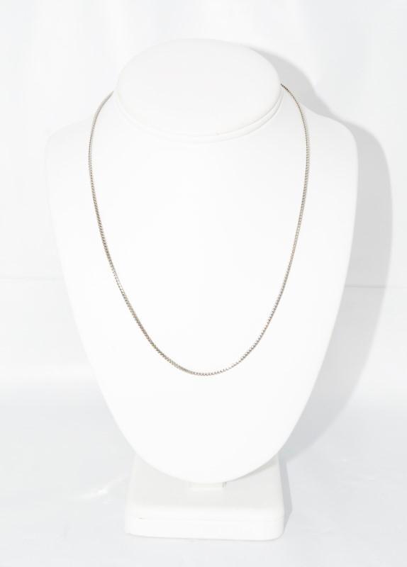 """14K White Gold 18"""" Unique Box Chain Necklace"""