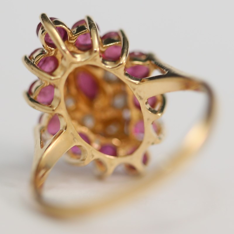 14K Yellow Gold Marquise Cut Ruby and Diamond Cluster Ring Size 7