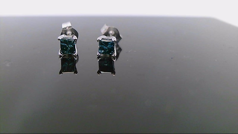 White gold blue diamond earrings