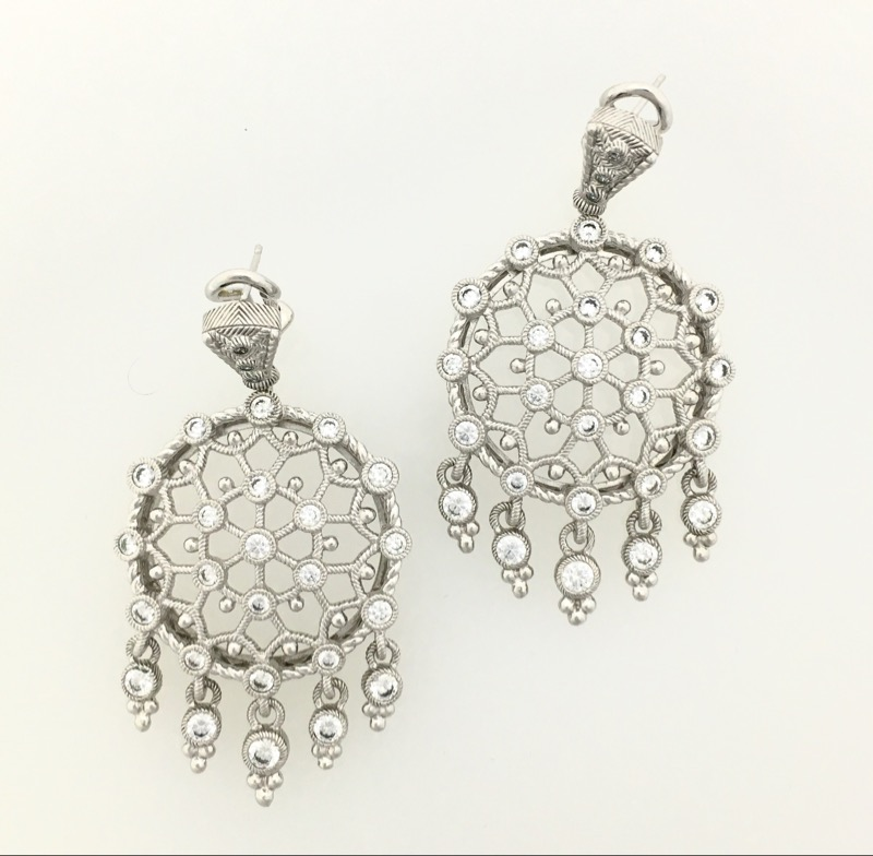 Judith Ripka Sterling Silver Diamonique CZ Dreamcatcher Leverback Earrings