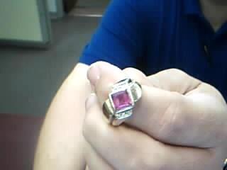 Pink Stone Gent's Stone & Diamond Ring 6 Diamonds .06 Carat T.W.