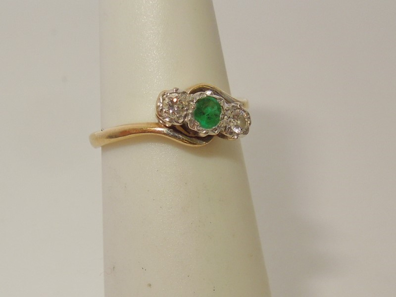 Emerald Lady's Stone & Diamond Ring 2 Diamonds .10 Carat T.W. 18K Yellow Gold