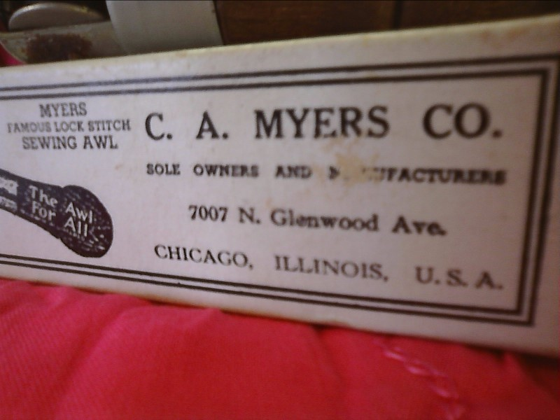 "C.A. MYERS CO ""One of a kind"" LOCK STITCH SEWING AWL"