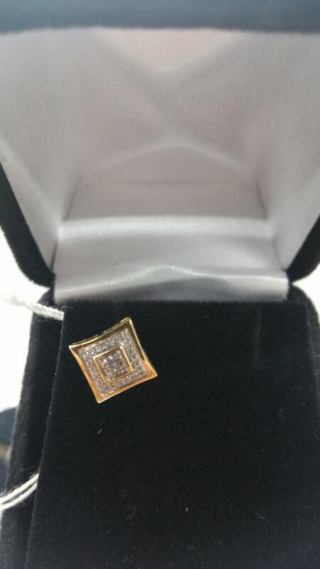 FASHION White Stone Gold-Stone Earrings 10K Yellow Gold 0.4dwt