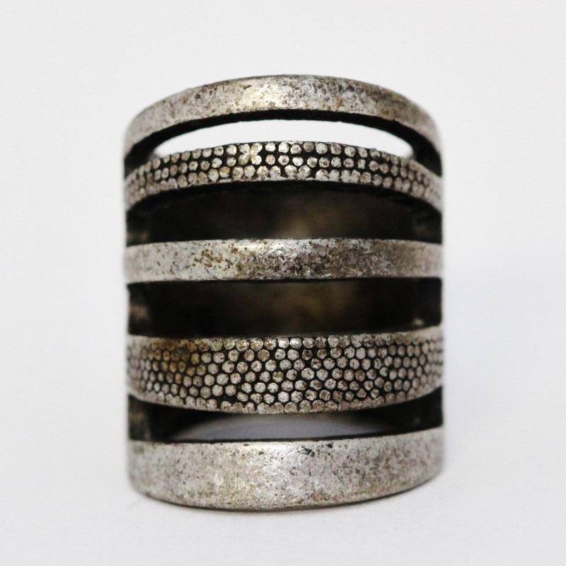 Sterling Silver Pebbled Quadruple Bar Tube Statement Ring Size 6