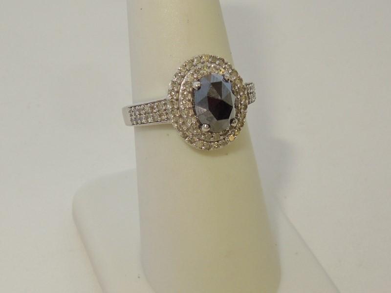 Lady's Silver-Diamond Ring 41 Diamonds 1.57 Carat T.W. 925 Silver 3.2g