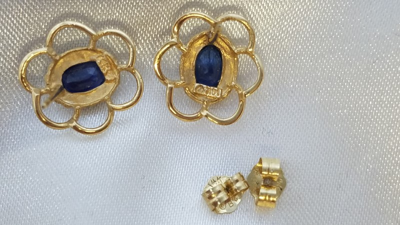 Sapphire Gold-Stone Earrings 14K Yellow Gold 1.8g