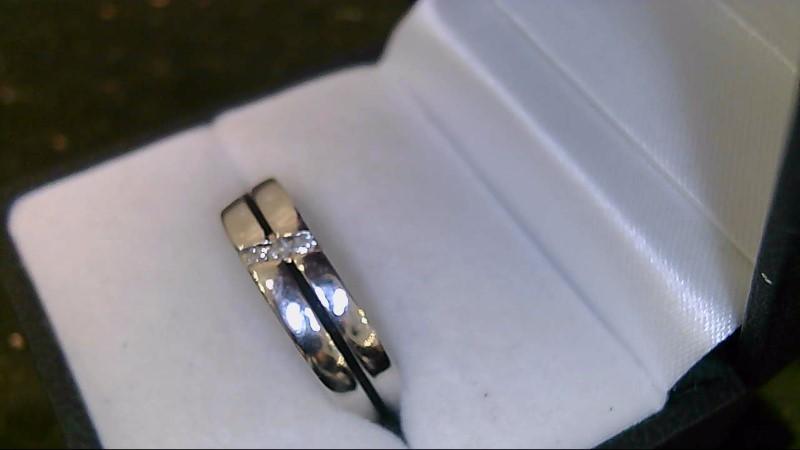 gent's 10k white gold 3 round diamond ring