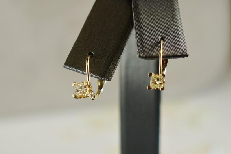 14K YG DIAMOND PRINCESS CUT STUDS APX. 42CTW