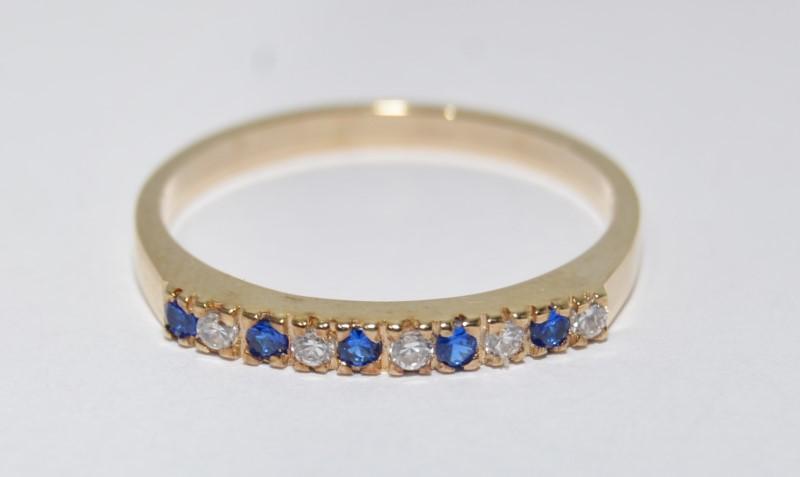 14K Yellow Gold Round Diamond & Sapphire Stacket Wedding Ring Band sz 9.75