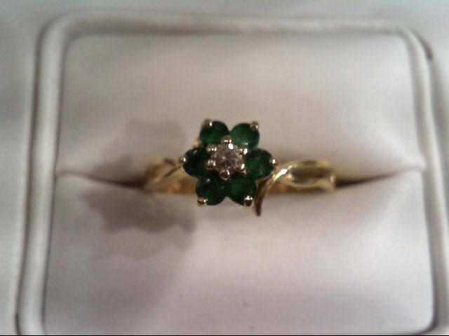 Emerald Lady's Stone & Diamond Ring .07 CT. 14K Yellow Gold 1.9g